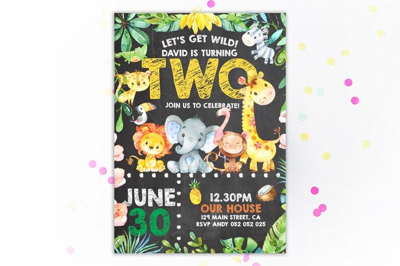Jungle 2nd Birthday Party Invitation Second