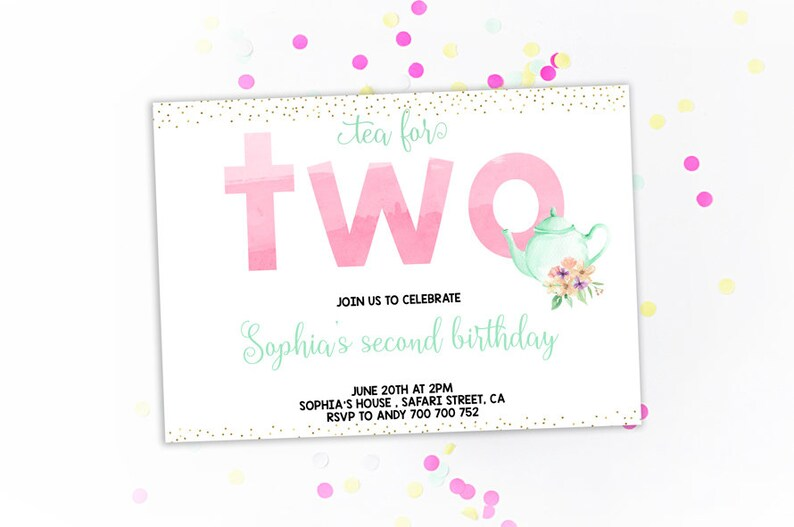 Tea For Two Birthday Party Invitation Girl