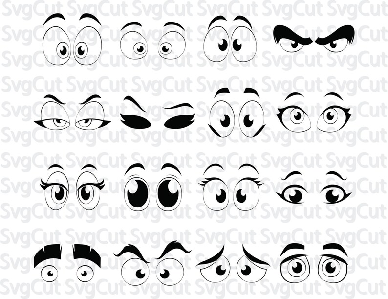 graphic relating to Printable Eyes Template named Cartoon Silhouette, Cartoon comedian eyes, Template SVG Silhouette Cricut Printable Artwork Poster Vector, SVG eyes, Electronic vinyl clipart