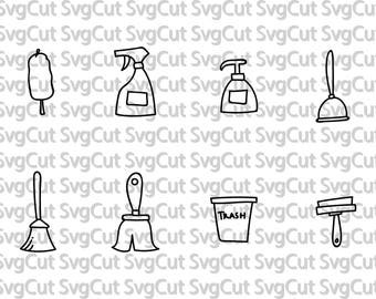 Cleaning housework Tidy clean Mr Clean Icons Files for silhouette Cricut machine SVG designs