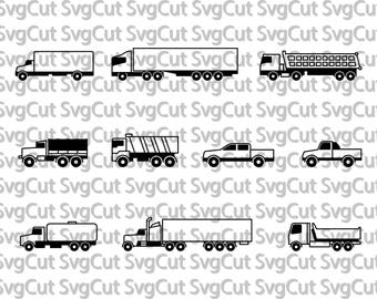 Trucks Semi Truck SVG File,Truck SVG Cutting Template-Vector Clip Art for Iron on