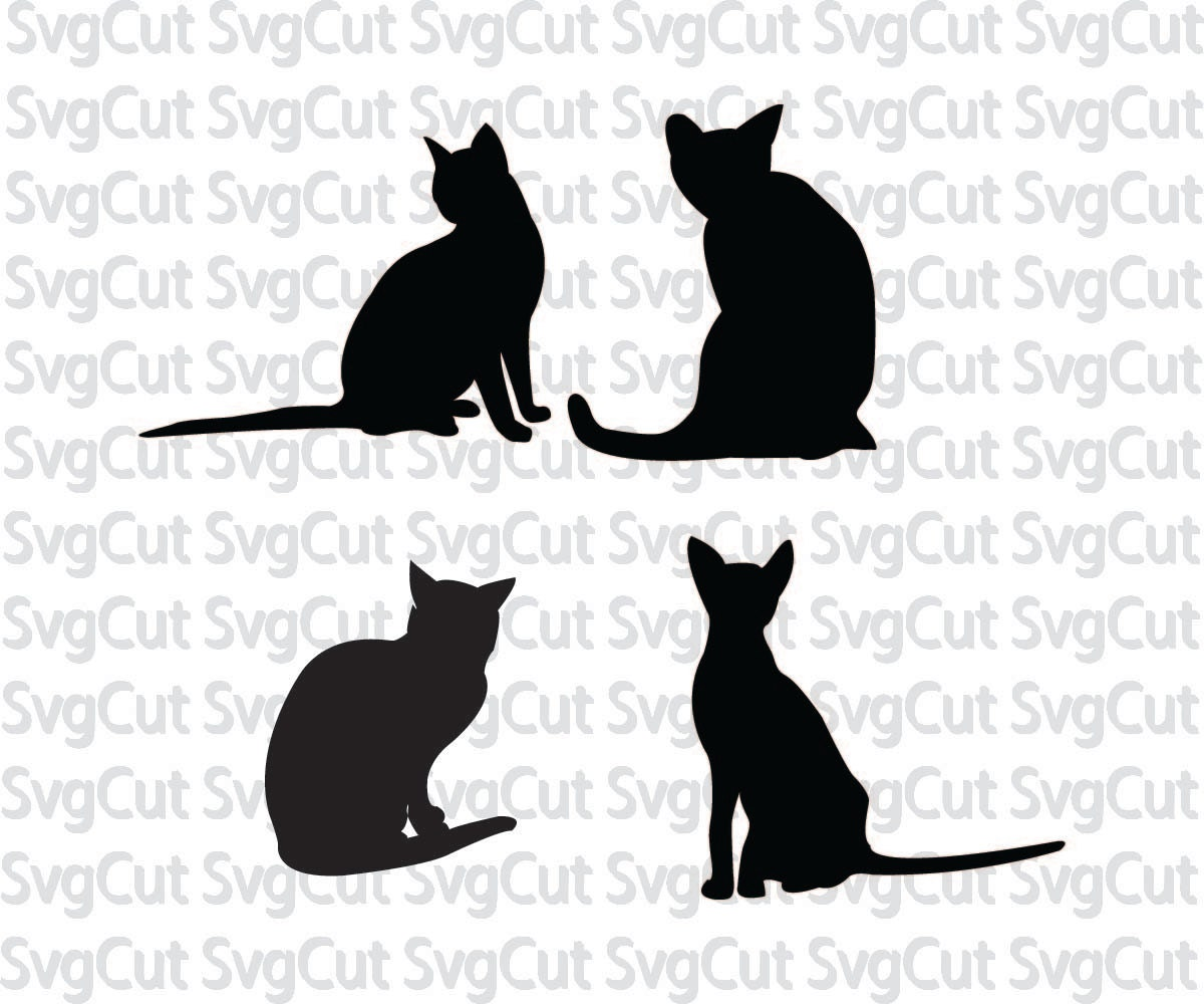 Cat Silhouette Cats Template Svg Cats Kitten Cut File Etsy