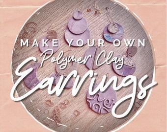 DIY Earring Kit   Create it yourself Custom   Polymer Clay Dangles   Gift Teacher Teen Kids Mum Mom   Activity Project