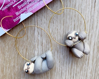 Lazy Sloth Hoop Earrings   Stainless Steel Hoops   Animal Statement Dangle Sloths Earrings   Gift for Women Her Mom Mum Sister Teacher Teen