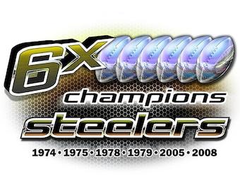 Steelers 6x Champions Pittsburgh T-shirt, tank or sleeveless M L XL 2X 3X 4X 5X Women Ladies Men NEW