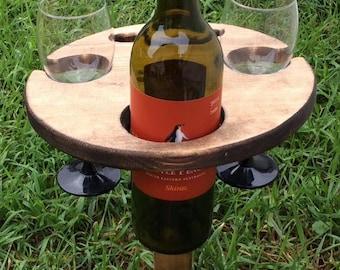 Backyard Wine & Bottle Holder Table Mobile Rustic
