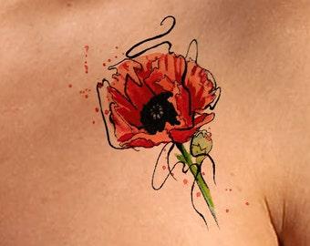 Temporary Tattoo Poppy Flower Tattoo Poppy Tattoo Watercolor Flowers Temporary Tattoos Gift For Girlfriend