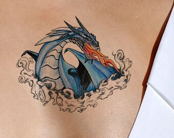 Temporary Tattoo Blue Fire Dragon-Gifts for Men-Tattoo Sticker- Gifts for Women