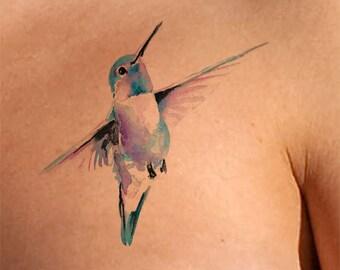 Hummingbird Temporary Tattoo Watercolor Bird Lover Gift bird Gifts For Women