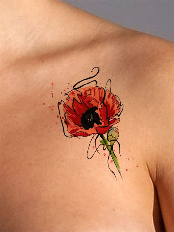 Temporary tattoo poppy flower tattoo poppy tattoo watercolor etsy image 0 mightylinksfo