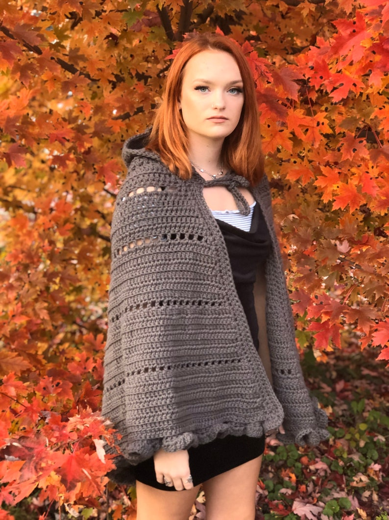 ADULT Grey Hooded Cape WIth Ruffles image 0