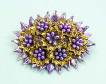 Vintage Brooch, Pearlescent Flowers, Purple Brooch, Lilac Brooch, Floral Brooch, Crafted Brooch, 60s Brooch, 1960s, Starburst, Pearly, Pin
