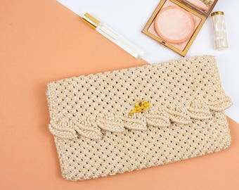 Vintage, 50s Clutch, Crocheted Clutch, Knit, Woven, Crocheted Bag, Unique, 50s Bag, Special Occasion, Wedding Bag, Evening Clutch, Womens