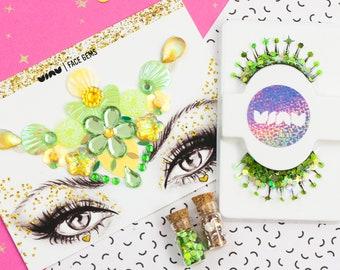 Face Gems, Glitter Eyelashes, False Eyelashes, Mermaid Fancy Dress, Costume Makeup, Fancy Dress, Fairy Fancy Dress, Unicorn, Festival, Vegan