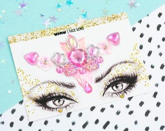 Festival Face Gems, Face Glitter, Festival Jewels, Forehead Gems, Pink Gems, Rave Glitter, Pink Glitter, Glitter Set, Fairy Costume, Vegan