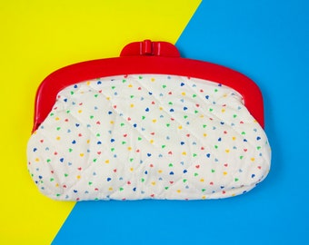 Vintage, Clasp Purse, Play Purse, Kids Clutch, Rainbow Bright, Kitsch, Red Bag, White Bag, Primary Colours, Lolita, Makeup Bag, Cosmetics