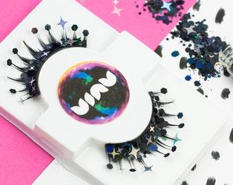 Glitter Eyelashes, Starry, False Eyelashes, Face Glitter, Glitter, Witch Makeup, Maleficent Costume, Fancy Dress, Black, Festival Glitter