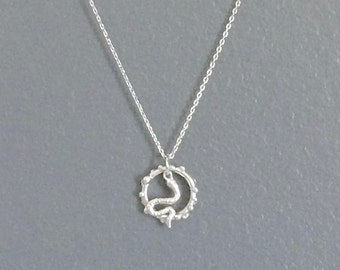 WAS 24.00, small SNAKE and CIRCLE pendant silver necklace, simple, animal, serpent, edgy, cool