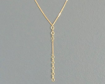 WAS 22.00, gold CHAIN y necklace, circle and infinity link, lariat chain links, mini statement, office, work, yellow gold plated