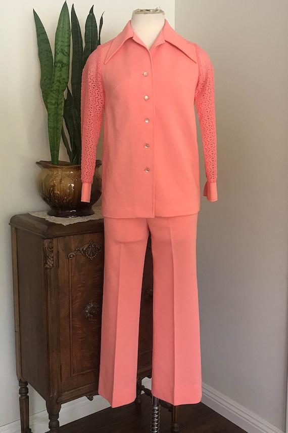 Vintage 1970's Coral 2 piece Pantsuit with  lace d