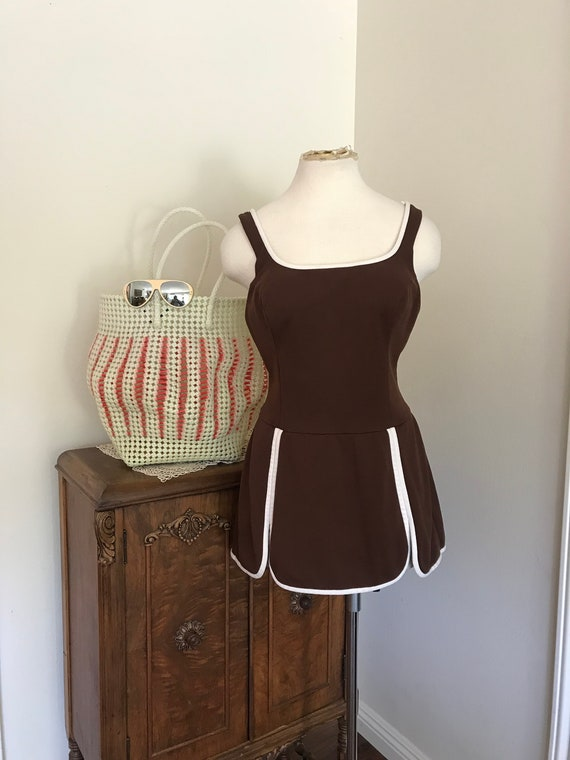 Vintage 1960's Catalina 1 Piece Brown Swimsuit wit