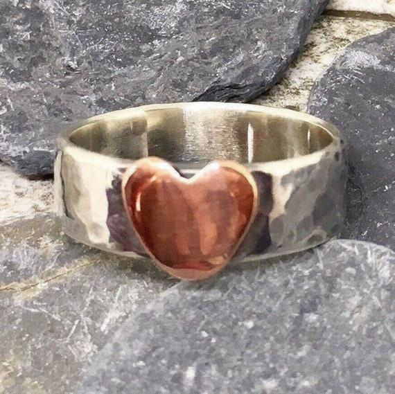 Boho Rustic Heart Ring Sterling Silver and Copper
