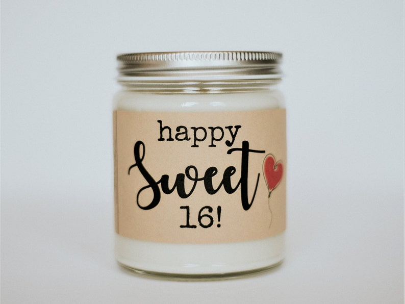 Sweet 16 Birthday Soy Candle Happy 16th Scented