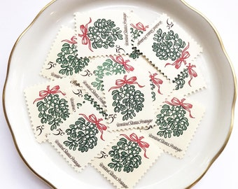 Mistletoe Unused Postage Stamps for Christmas Cards and Holiday Greetings //Vintage USPS  5 cent stamp // 1964 // No. 1256