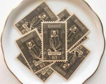 Shakespeare Unused Postage Stamps for Wedding Invitations and Snail Mail // Vintage USPS Postage Stamps// 1964 // 5 cents // No. 1250