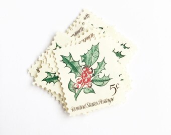 Holly Unused Postage Stamps for Christmas Cards and Holiday Greetings //Vintage USPS 5 cent stamp // 1964 // No. 1256