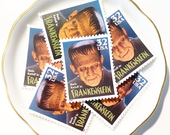 Frankenstein Unused Postage Stamp for Snail Mail Letters and Halloween // 32c Vintage Postage from Classic Movie Monsters 1997