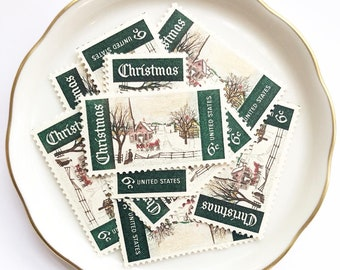 Snowy Unused postage stamps for Christmas Cards and Holiday Greetings // Winter in Maine // 1969 // 6 cents // No. 1384