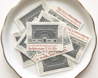 Gray Unused Postage Stamp for wedding invitations and Snail Mail Letters // Vintage 1980s Unused Stamps // Louise Sullivan Architecture