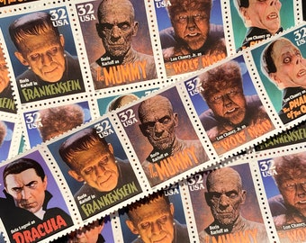 STRIP of 5 classic movie monster postage stamps // Dracula, The Phantom of the Opera, Frankenstein, The Mummy, Wolfman // Vintage postage