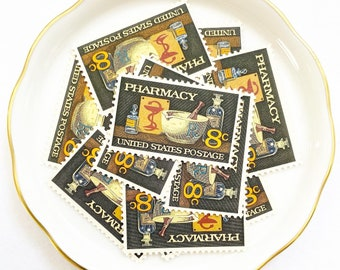 Pharmacy Unused Vintage Postage Stamps for Wedding Invitations and Snail Mail Letters // Vintage USPS 1970s // 8 cents