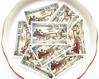 Red Sleigh Unused Postage Stamps for Christmas Cards and Holiday Greetings // Vintage Postage Currier and Ives // 10 cents, 1974 // No. 1551