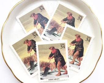 Winter Unused Postage Stamps for Mail Letters Invitations vintage USPS // American Illustrators, Fawcett // 34 cents // 2001 // No. 3502