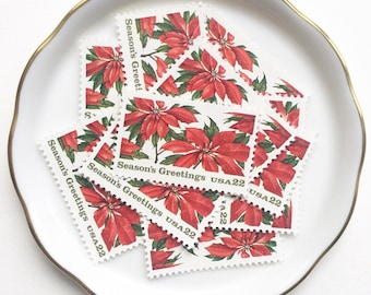 Poinsettia Unused Postage Stamps for Christmas Cards and Holiday Snail Mail // Vintage USPS Red Poinsettia // 22 cents // 1985 // No. 2166