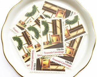 Wreath and Toys Unused Stamps for Christmas Cards and Holiday Greetings // Vintage USPS Christmas Stamps // 15 cents // 1980 // No. 1843