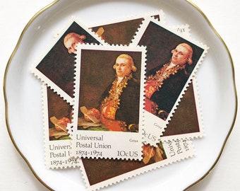 Love Letter Postage Stamp for Snail Mail, Letter Envelope Art, Penpals / Vintage 1970s Unused Stamps for red, gold wedding invitations