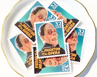 Phantom of the Opera Unused Postage Stamp for Snail Mail Letters and Halloween //  32c Vintage Postage from Classic Movie Monsters 1997