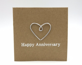 Happy 11th Anniversary Card - Steel Wire Heart - Iron - 4 x 4 inches ( 102mm x 102mm) Or 5 x 5 inches (127mm x 127mm)