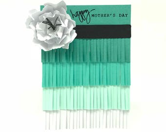 Happy Mother's Day Card - Teal/Turquoise Ombre Fringe Card With white Flower