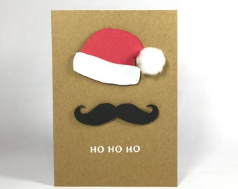 Ho Ho Ho Christmas Card - Santa Hat - Mustache - Happy Xmas