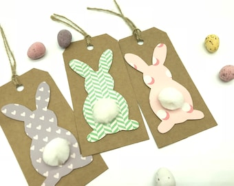 Easter Bunny Pom Pom Tail Tags - Pink Purple And Green Happy Easter Labels - Set Of Three