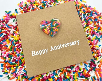 6th Sugar Anniversary Card - Rainbow Sprinkles Resin Heart - 100s and 1000s Epoxy 4x4 inches (102mm x 102mm) Or 5x5 inches (127mm x 127mm)
