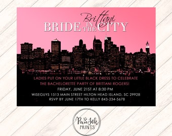 bride in the city invitation skyline bachelorette invitation pink bachelorette printable bachelorette in the city city skyline invite