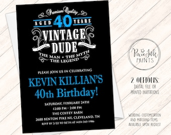 vintage dude birthday invitation through the ages invite etsy