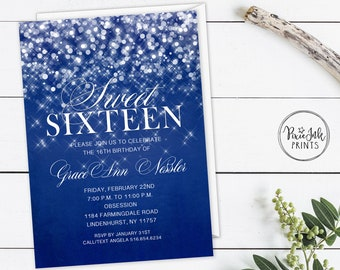 graphic regarding Printable Sweet 16 Invitations called Lovable 16 invitation Etsy