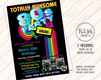 80s Birthday Party Invitation 1980s Theme Eighties Printable